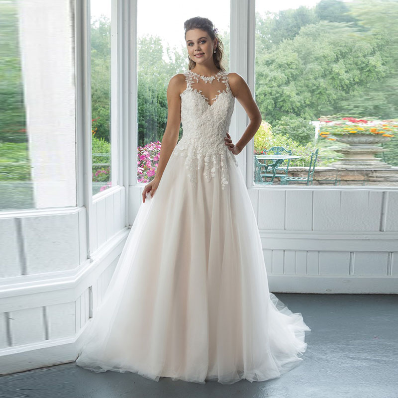Vintage Lace Wedding Dresses O-Neck Appliques Tulle A-Line Wedding Gowns Illusion Tulle Back Bride Dress Vestido Novia
