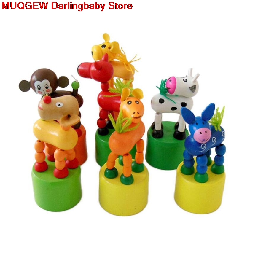 Toy Animal-Figures Birthday-Gift Dancing-Stand Funny Rocking Interesting Wood for Children