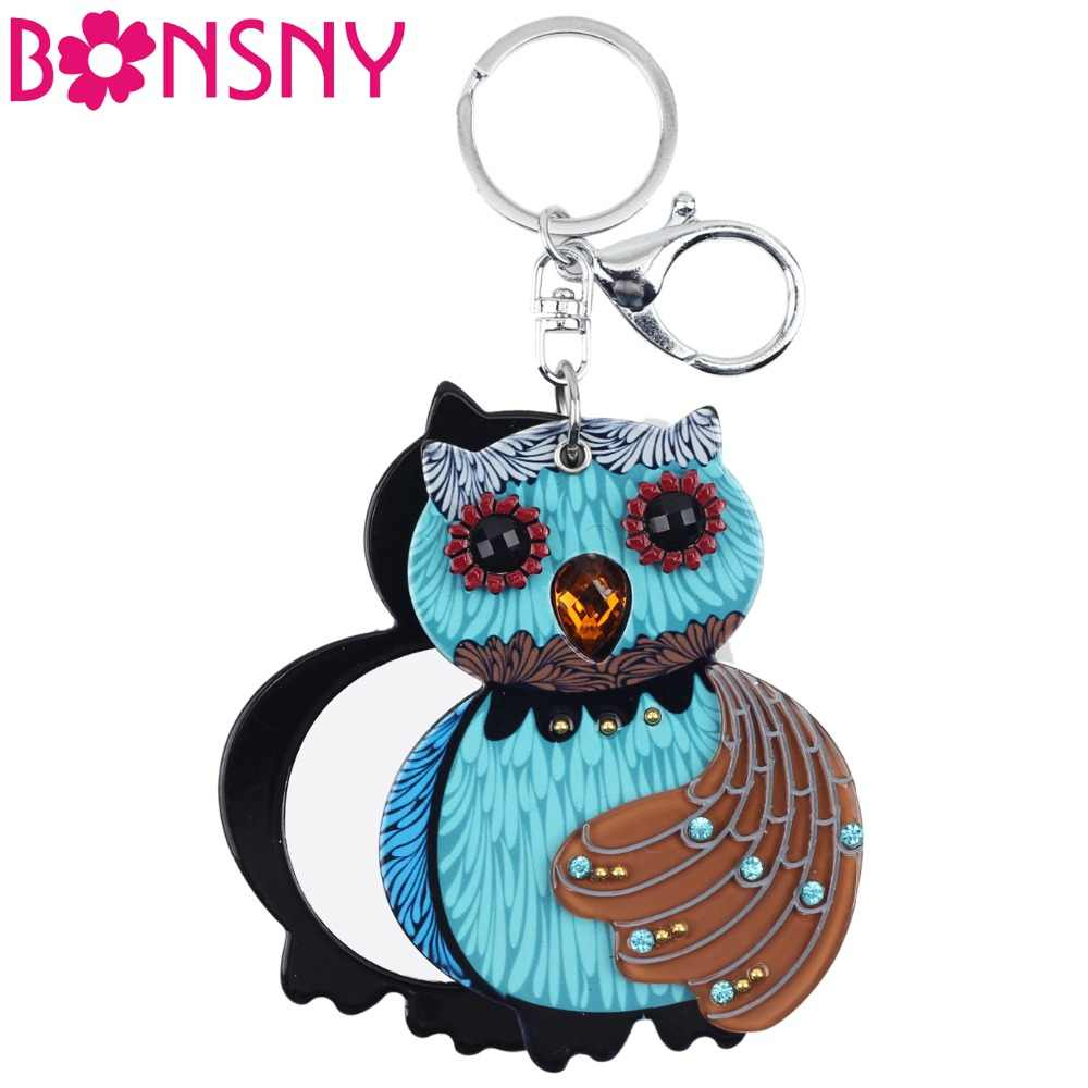 38f9fab8314caf Detail Feedback Questions about Bonsny Statement Acrylic Novelty Owl Key  Chains Make Up Mirrors Key Ring For Women Girl Ladies Bag Charm Fashion  Jewelry ...