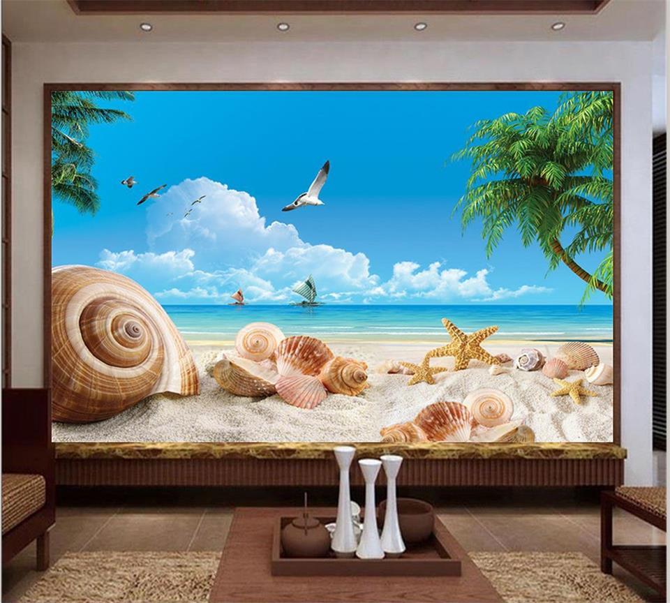 US $15 03 Di SCONTO 3d Wallpaper Foto Wallpaper Murale Personalizzato Soggiorno Estate Vista Mare Pittura 3d Sfondo TV Non Tessuto Carta Da Parati