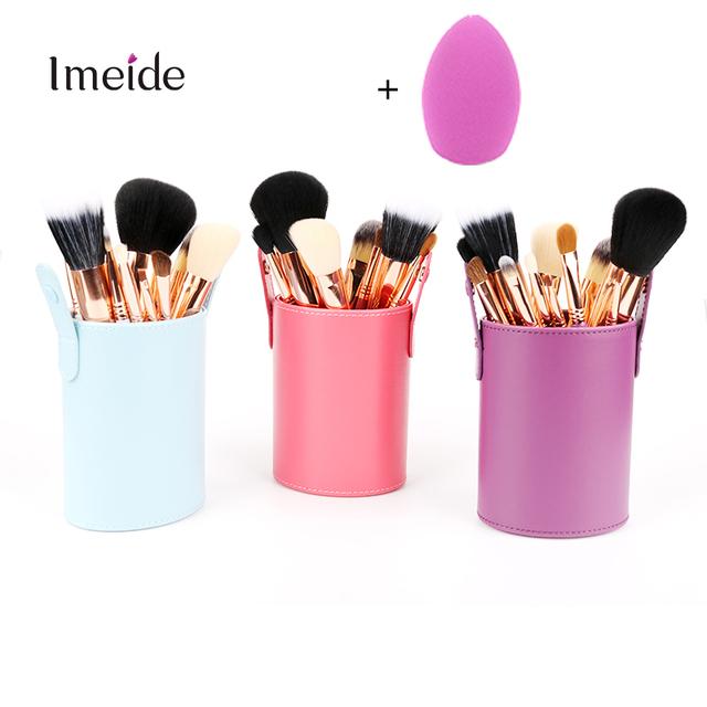 12 Pcs Professional Make up Brush Set Kit Pincéis Pincel Maquiagem Brochas maquiagem Maquillage Pinceaux + Titular Pincel de Maquiagem