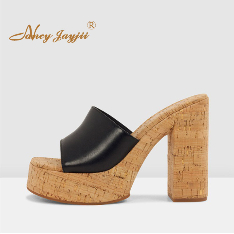 a few days away online retailer new arrive Black White Platform Sandals Woman High Chunky Heels Natural Cork ...