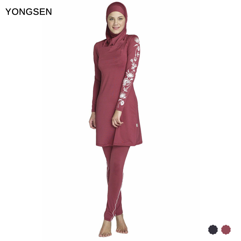 YONGSEN 2017 Women Plus Size Printed Floral Muslim Swimwear Hijab Muslimah Islamic Swimsuit Swim Surf Wear Sport Burkinis