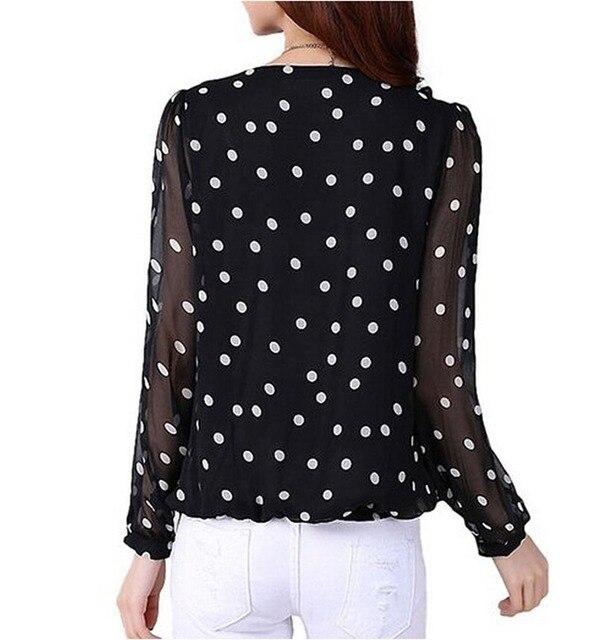 Chiffon Blouses Polka Dot Blouse Lantern Sleeve Shirts O-neck High Quality XXL Size 4