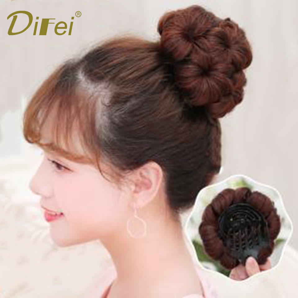 DIFEI 9 Flowers Women Chignon Hair Bun Donut Clip In Hairpiece Extensions Synthetic High Temperature Fiber Chignon ...