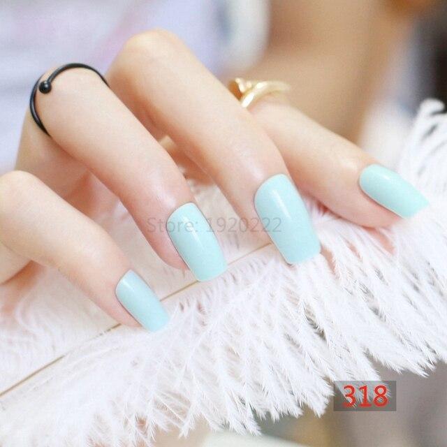 2017 24pcs Hot Fashion Long Section Square Head Candy False Nails Decoration Ling Blue M318