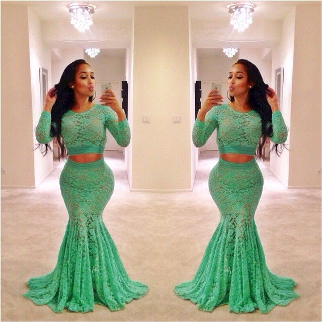 Mermaid Two Piece Prom Dresses Green Floor Length Long Lace African