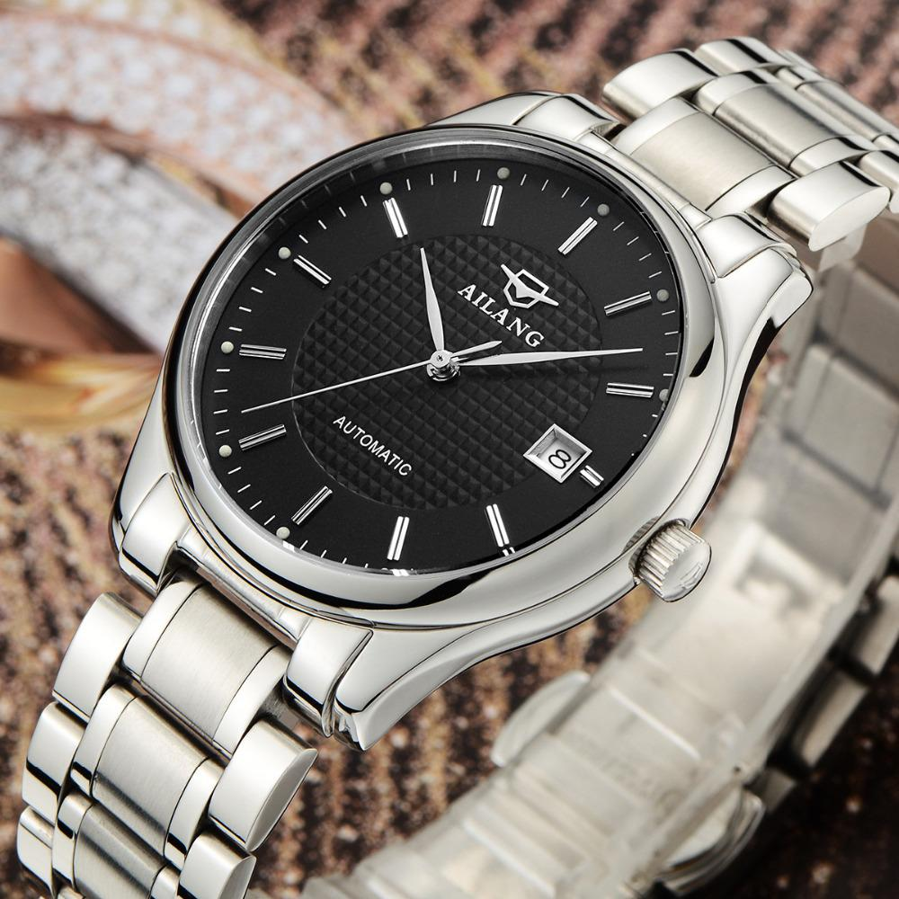 AILANG Elegant British Style Men Calendar Business Watches Full Steel Dress Wristwatch Self Wind Mechanical Relojes 3ATM NW3311 elegant women fashion business statement watches mechanical self wind calendar dress wristwatch analog relojes full steel nw3160