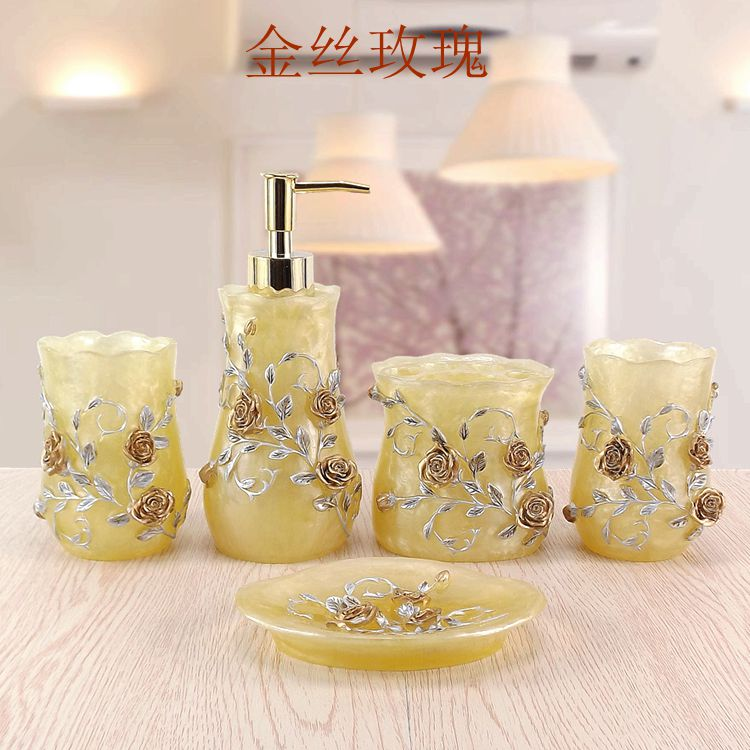 Lemei resin five piece bathroom Wedding Suit European style bathroom products, wash gargle cup Kit toothpaste dispenser