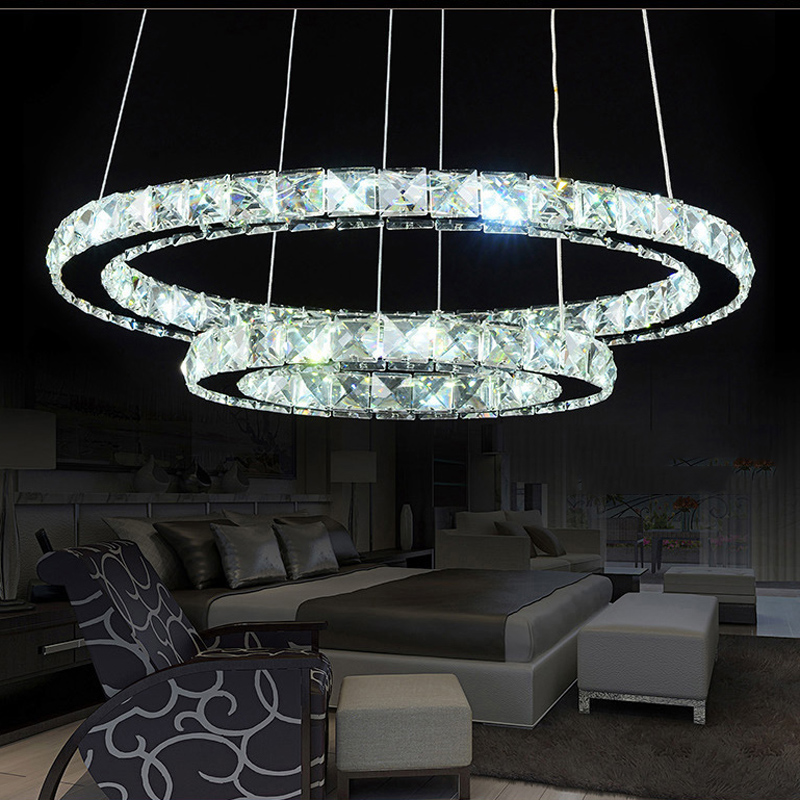 Modern Chrome Crystals Diamond Ring LED Lamp Stainless Steel Hanging Light Fixtures Adjustable Cristal LED Lustre modern chrome chandelier crystals diamond ring led lamp stainless steel hanging light fixtures adjustable cristal led lustre