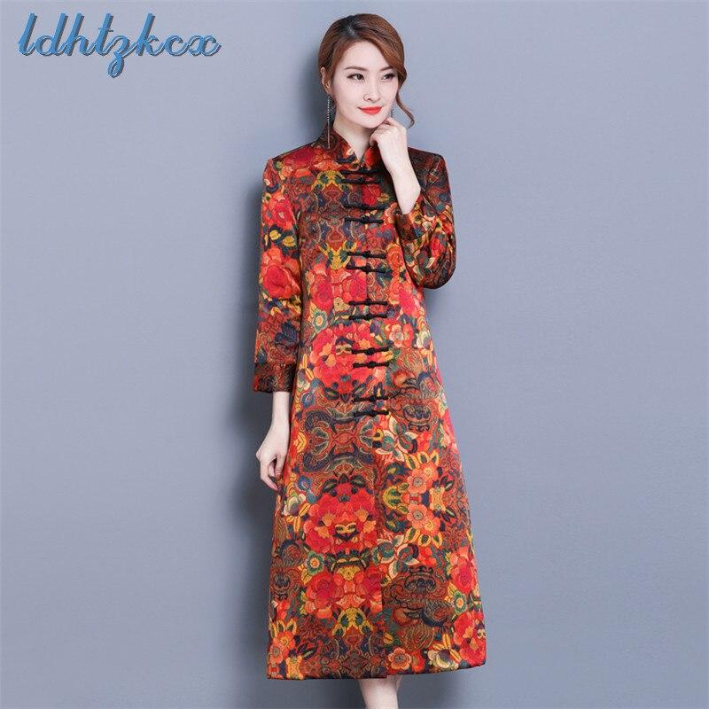 Imprimer broderie grande taille à manches longues robes femme 2018 hiver mode chinois lapin cheveux col élégant Chic robes L442