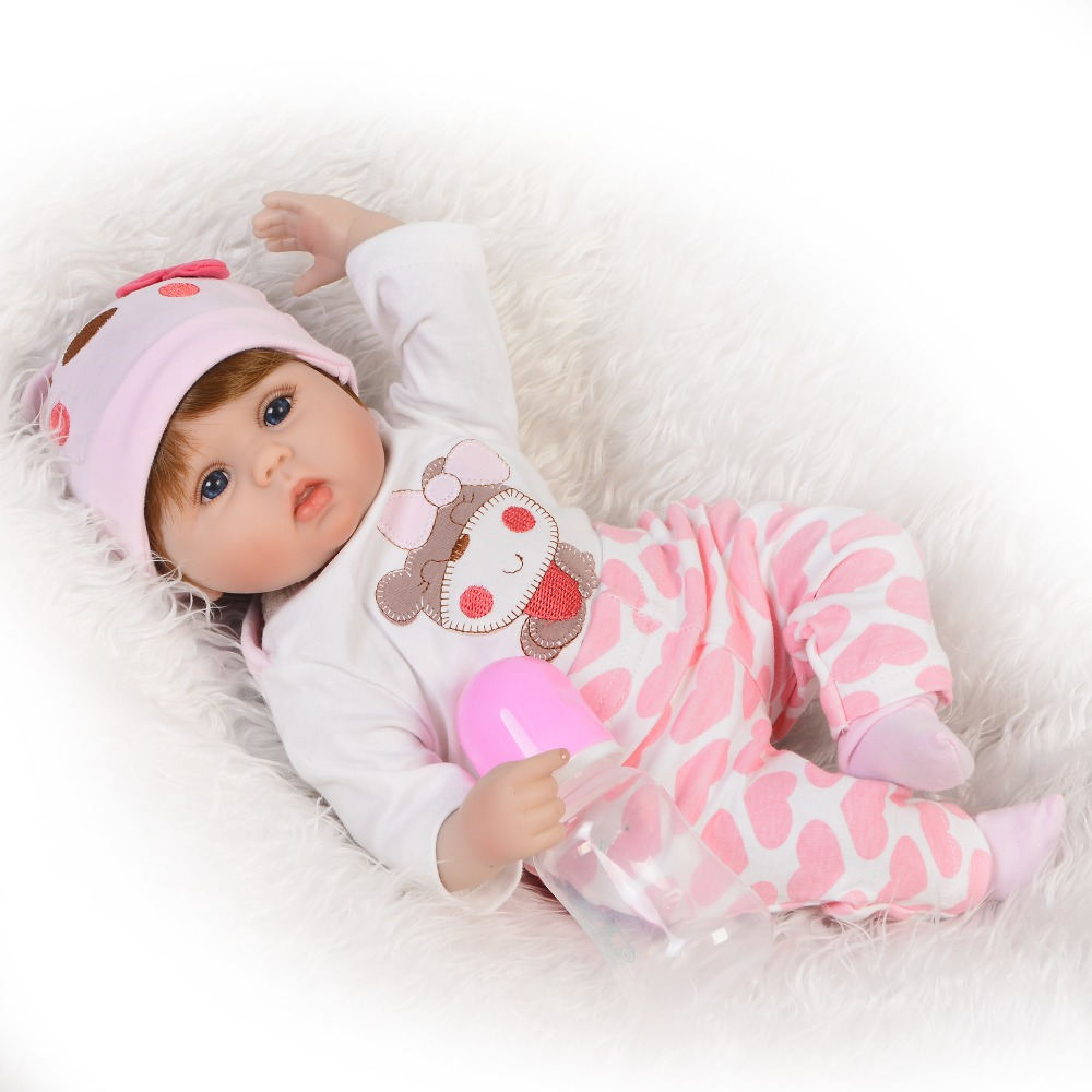 KEIUMI Lovable 17'' Reborn Dolls Babies Soft Silicone Body Fashion 43 cm Baby Girl Toy Stuffed PP Cotton Baby Reborn Playmates-in Dolls from Toys & Hobbies    2