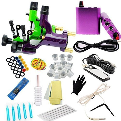 Complete Tattoo Machine Power Supply Foot Pedal Clip Cord Needles Kit  TM-KIT-A