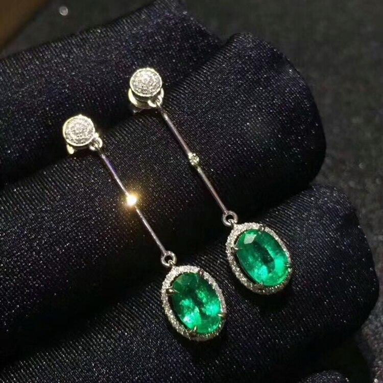 MeiBaPJ Natural Columbia Emerald Gemstone Drop Earrings Real 925 Silver Fashion Earrings Fine Charm Jewelry