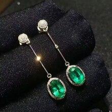 [MeiBaPJ] הטבעי קולומביה אמרלד חן Drop עגילי נדל 925 כסף אופנה עגילי תכשיטי קסם עבור נשים