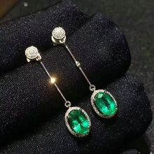[MeiBaPJ]Natural Columbia Emerald Gemstone Drop Earrings Real 925 Silver Fashion Earrings Fine Charm Jewelry for Women