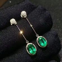 [MeiBaPJ]Natural Columbia Emerald Gemstone Drop Earrings Real 925 Silver Fashion Earrings Fine Charm Jewelry for Women