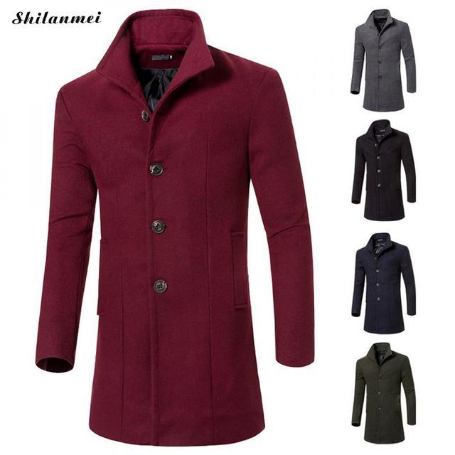 c8f1e467095 Mens Winter Warm Wool Coat Men Slim Fit Fashion Jackets Mens Casual Warm  Business Overcoat Middle Long Outerwear Plus Size M-3xl