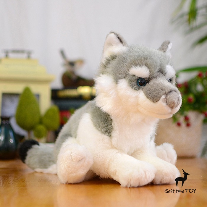 Children s educational toys Gifts Husky doll Plush Toy Simulation Animals Coyotes Dolls