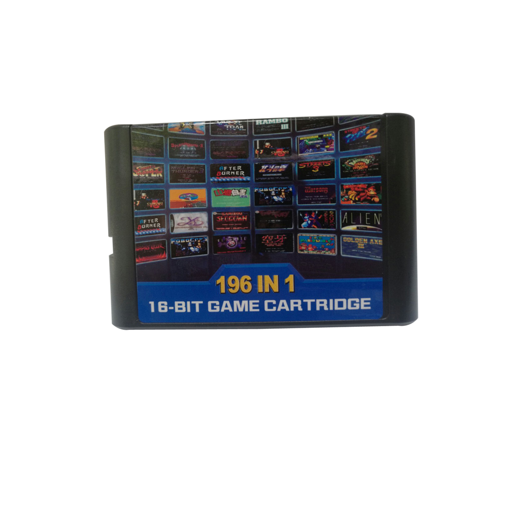196 in 1 multi games  cards cartridge  for 16 bit games For Sega Mega Drive MD   For Genesis   use with battery save  part