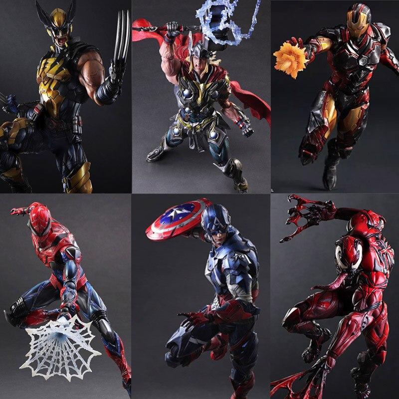 Jouer Arts Kai Avengers fer homme spiderman venin Captain America Deadpool PA Kai 28 cm PVC figurine Action poupée jouets enfants cadeau