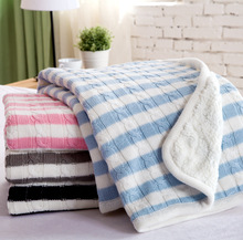 black white blue pink gray  stripe Sofa knees nap children blanket photography props cotton thick double knit blanket 100x120cm