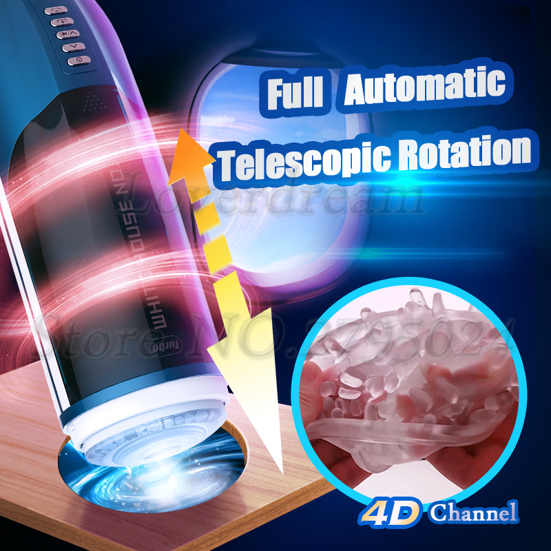 4D Channel Automatic Piston Telescopic Whirlpool Rotation Artificial Vagina Real Pussy Vibrator Male Masturbator Sex Toy