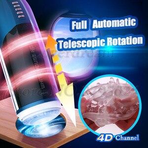 Image 1 - 4D kanał automatyczny tłok teleskopowy Whirlpool obrót sztuczna pochwa z prawdziwą pochwą wibrator męski Masturbator seks zabawka dla mężczyzn
