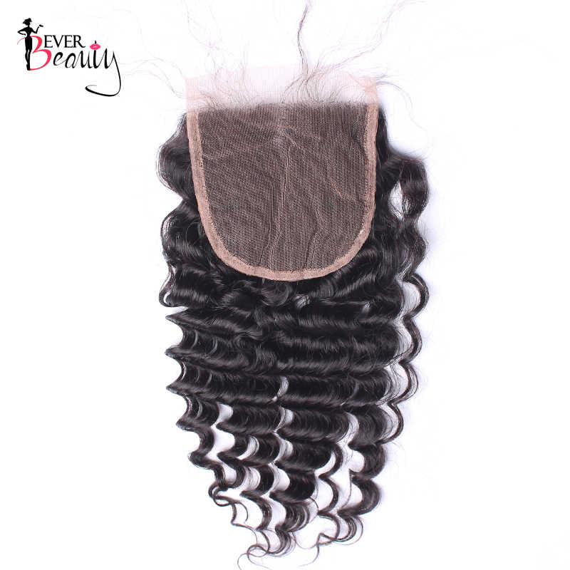 Brazilian Deep Wave Hair 5x5 Lace Closure Pre Plucked Hairline With Baby Hair Bleached Knots Human Hair Closure Ever Beauty Remy