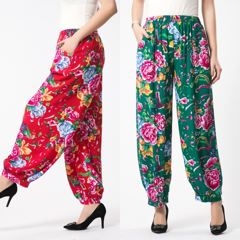 Cotton Silk Square dancing   pants   large yards   wide     leg     pants   in the elderly high waist casual   pants  . Trousers for women TB81