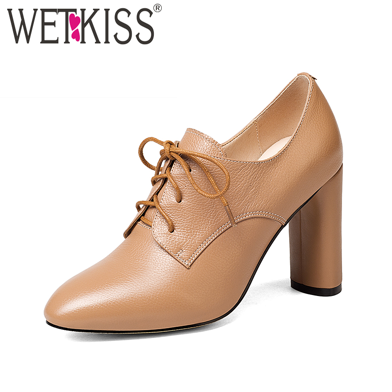 где купить WETKISS New Big Size 33-43 Genuine Leather Women Pumps Round Toe High Heels Shoelaces Footwear Spike Heels Fashion Ladies Shoes по лучшей цене