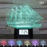 Sailing Ship Car Tractor Motorcycle 3D Illusion Calendar Clock Lamp LED USB 7 Colors Night Light Remote Control Desk Table Lamp
