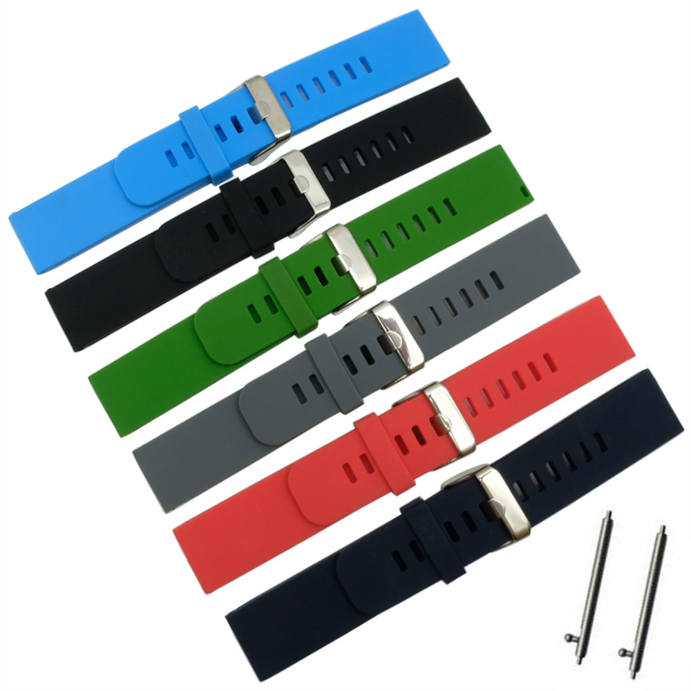 Quick Install Watch Strap 18mm/20mm/22mm for Motorola Moto 360 2 Gen 46mm Samsung Gear2 R380-R382 Silicone Rubber Band Bracelet