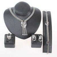 Gorąca Sprzedaż Nowa Fangle Trendy Party Afryki Biżuteria Ustaw posrebrzane Kryształ Komunikat Ślub Naszyjnik zestaw biżuterii dla kobiet