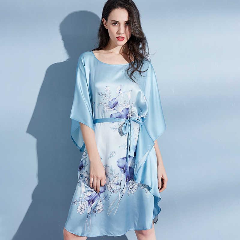 Фото Женская ночная рубашка из 100% шелка женская шелковая одежда для сна женские