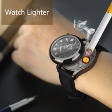 Metalowa wiatroodporna ładowania zegarek zapalniczki USB bezpłomieniowe zapalniczki zapalniczki akumulator elektroniczny sport mężczyźni zegarki zapalniczka tanie tanio XM1905142237 watch lighter as the photo Support