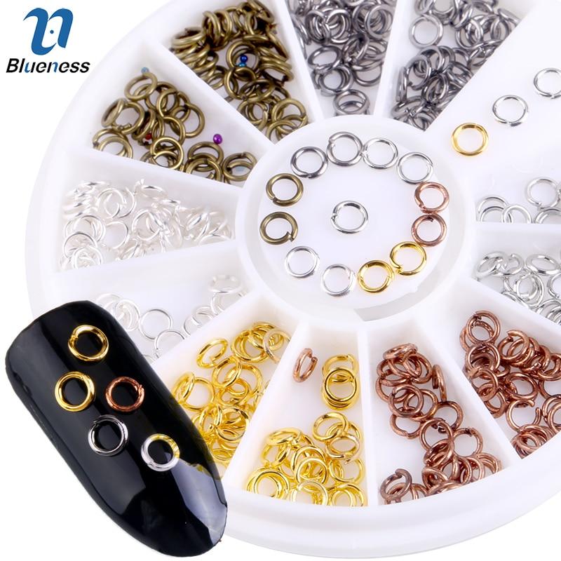 Металлические стальные кольца Blueness, 6 цветов, 3D украшения для дизайна ногтей, стразы, шпильки, принадлежности для дизайна, блестки, DIY Charm Wheel ZP134|3d nail art decoration|nail art decorationsglitter diy - AliExpress