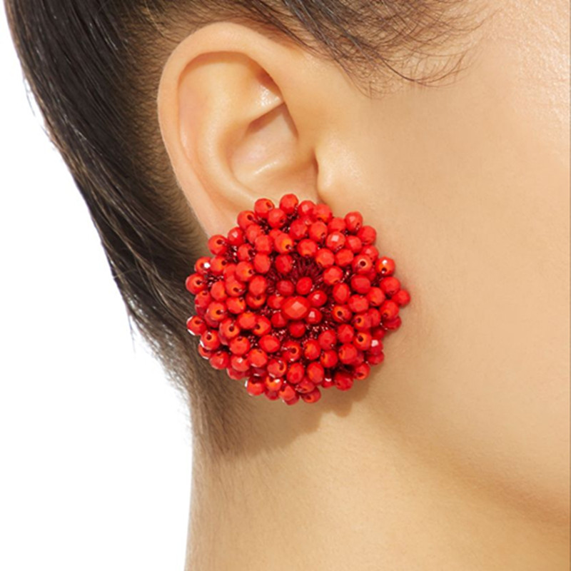 Dongmu Jewelry, new Bohemia exaggerated crystal earrings, ladies exquisite gifts, flower type ear studs