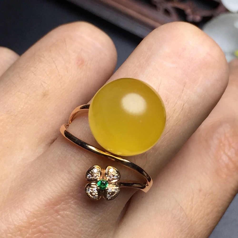 Amber แหวนเครื่องประดับ 18 K Rose Gold AU750 100% ธรรมชาติอัญมณีอัญมณีหญิงแหวนสำหรับผู้หญิงแหวน