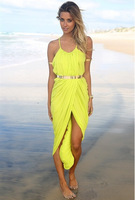 2015 NEW Europe And America Explosion Models Summer Fashion Beach Dress Sexy Backless Dress M L