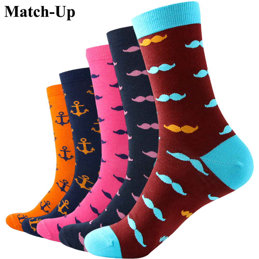 Match Up MUSTACHE ANCHOR Man Combed Cotton Socks US 7 5 12 5 pairs lot