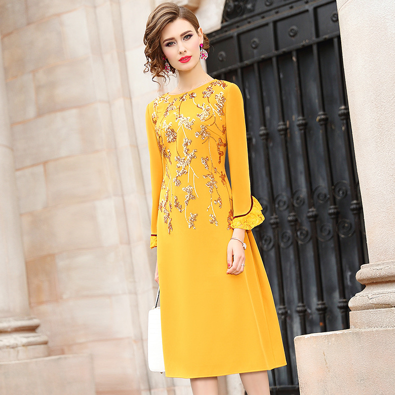 Office Lady dress Spring 2019 new full Sleeve Women yellow Party Dress A Line Plus Size