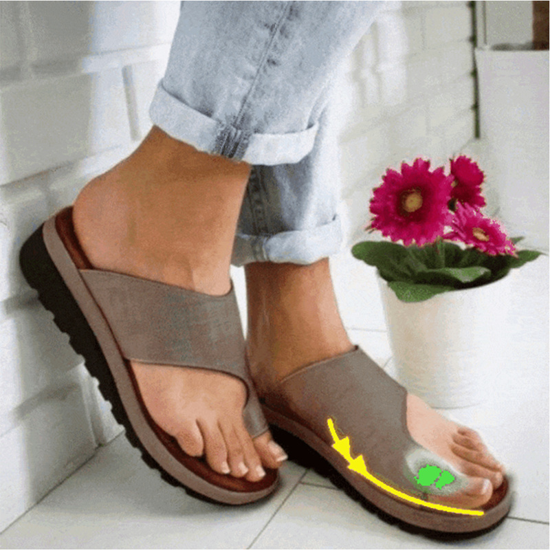1 Pair Women Comfy Platform Sandal Shoes Feet Correct Thickened Street PU Leather Dating Shopping Flat Sole Women Sandal big toe sandal