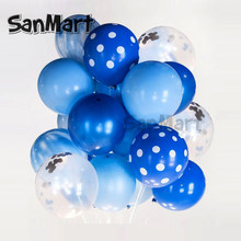 20Pcs Pink Blue Boys Party Birthday Balloons, Round Balloons Marble and Confetti Candyfloss-Bunch Baby Shower Balloons Bouquet(China)