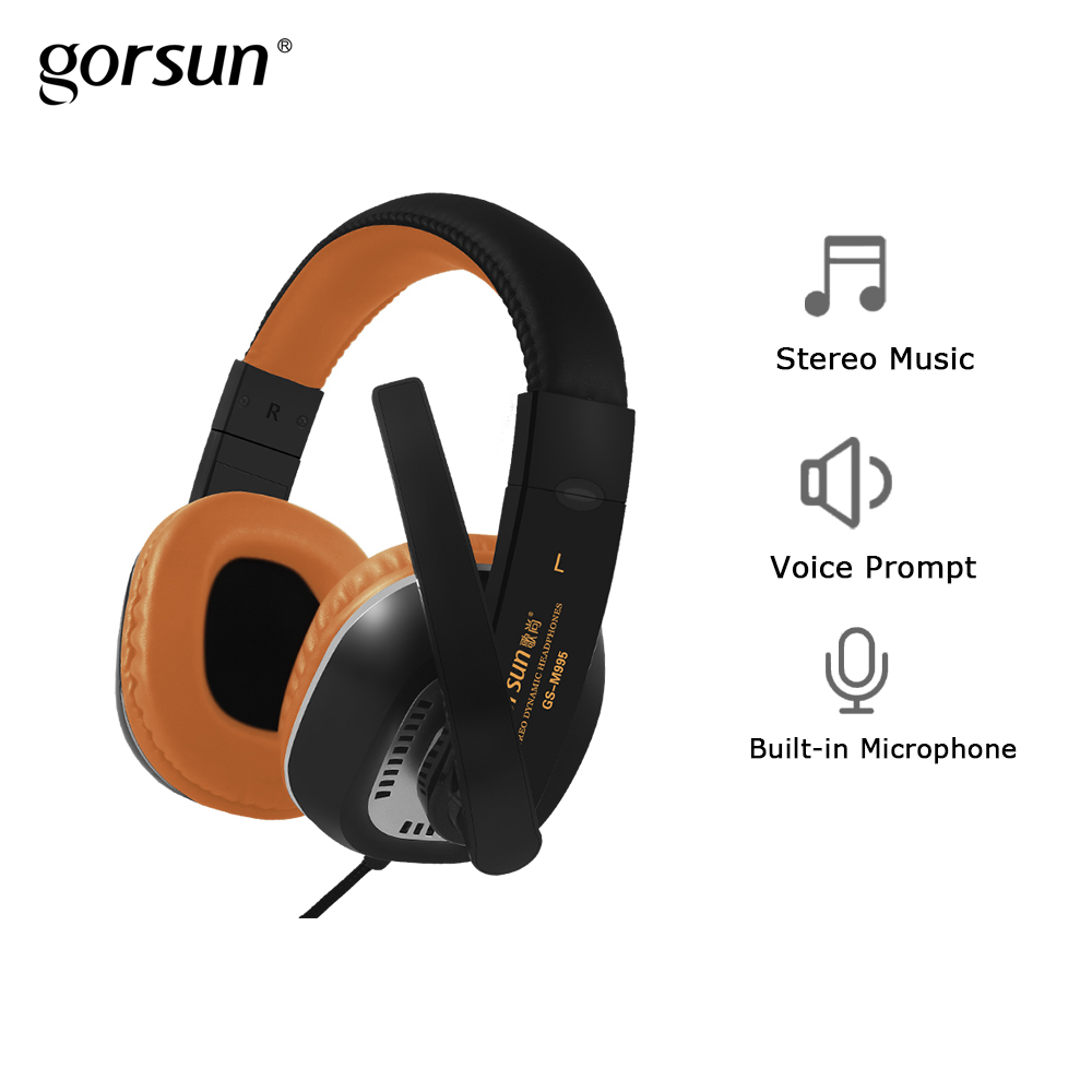 Gorsun M995 Wired Gaming Headset with Microphone Foldable Deep Bass Headphones for PC Computer Game Laptop gorsun gs a552 wired dynamic stereo bass headset headphone black red