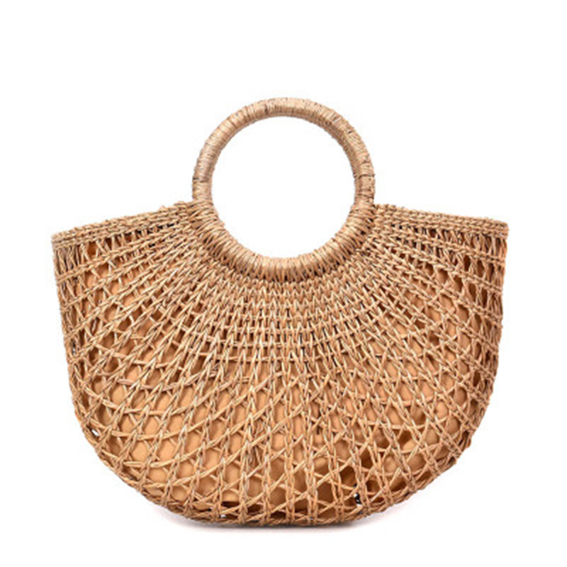 2018 new Rattan beach bag straw totes bag bucket summer bags with women handbag braided Beach Handbag Causal Shopping Travel Bag цена
