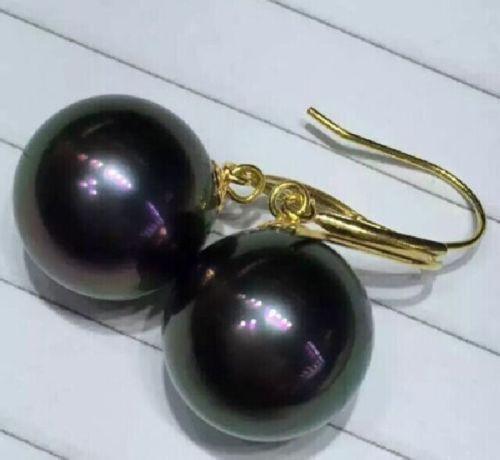 free shipping PERFECT ROUND 10-11MM AAA++ TAHAITIAN BLACK PEARL DANGLE EARRING 14k/20 GOLD цена и фото