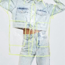 PVC Trench Waterproof See Through Clear Transparent Long Coat