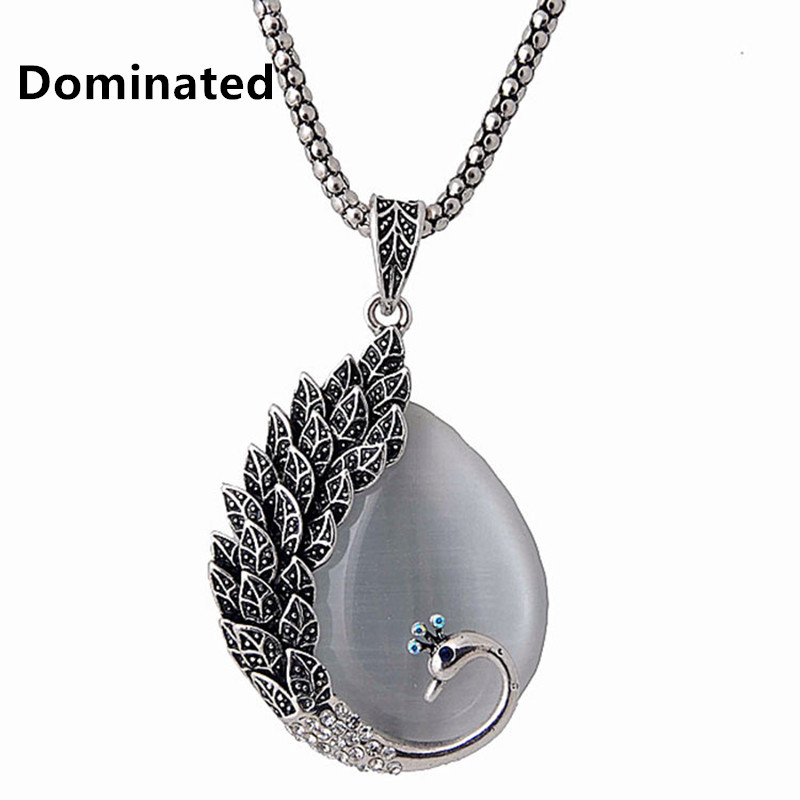 Dominated Women Retro Peacock Cat Eye Pendant Long Sweater Chain Clothing Pendant Necklace rhinestone eye pendant chain necklace