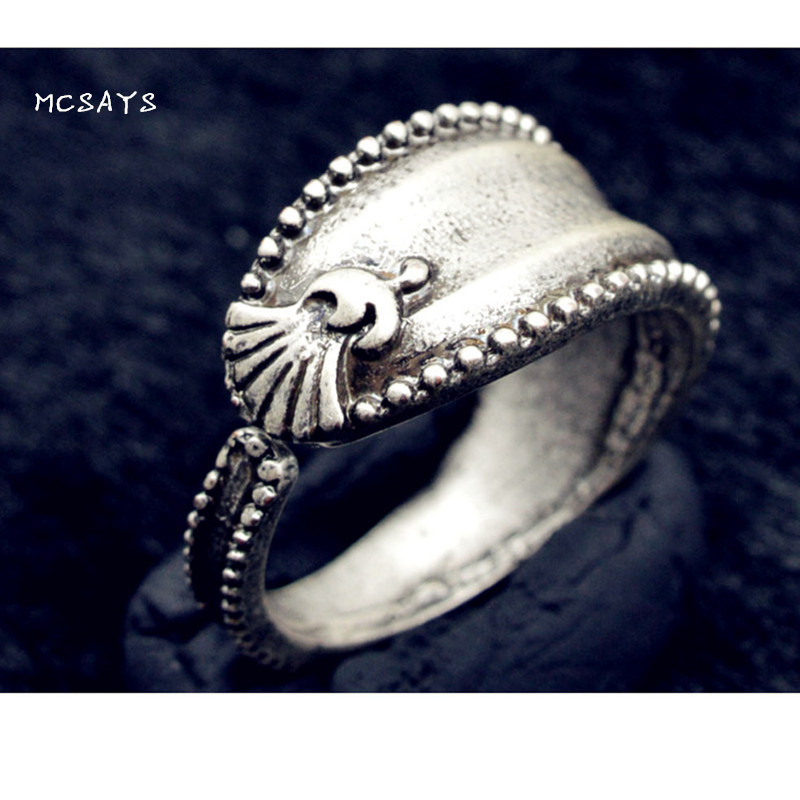 MCSAYS Viking Jewelry Thistle Flower Rose Flower Country Flower Rings Retro Adjustable Special Ring Accessories Ethnic Gifts 4YS